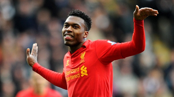 Daniel Sturridge celebrates scoring Liverpool's third goal