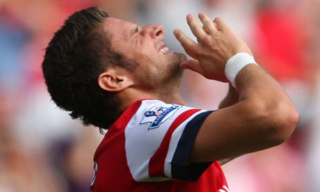 Olivier Giroud after missing a chance to score for Arsenal against Sunderland