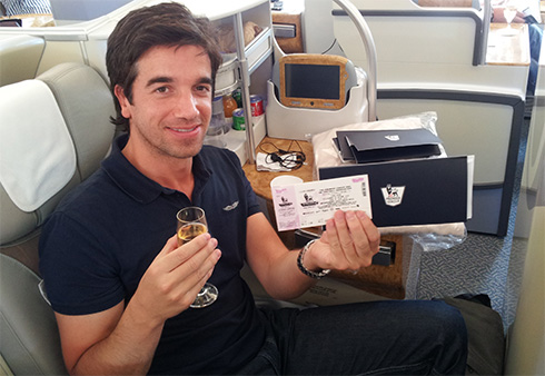 Here is Matt en route to Hong Kong as part of his prize for WINNING 2012/13 FPL