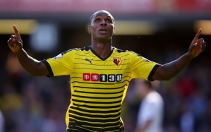WATFORD, ENGLAND - SEPTEMBER 12: Odion Ighalo of Watford celebrates scoring the opening goal during the Barclays Premier League match between Watford and Swansea City at Vicarage Road on September 12, 2015 in Watford, United Kingdom. (Photo by Ian Walton/Getty Images)